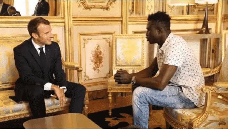 Rencontre entre MamadouGassama et Emanuel Macron à l'élysé le 28/05/2018
