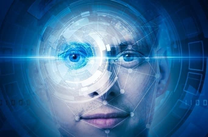 Visage scanné par reconnaissance faciale