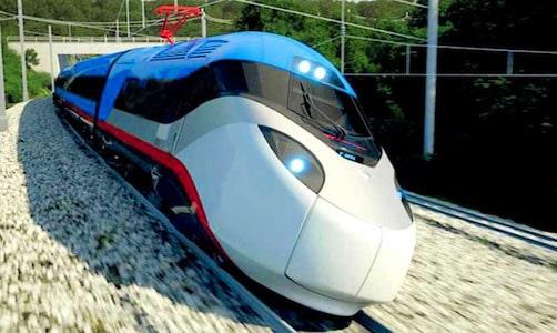 un train TGV dans un virage