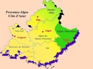 Carte de la region PACA