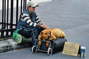 Pauvrete d'une personne sans domicile