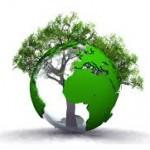 logo développement durable: la terre avec les continents verts et un arbre
