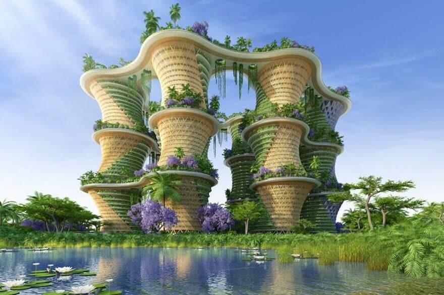 un écoquartier idéal qui mélange béton et végétation