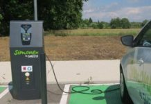 une borne de recharge électrique reliée à une voiture