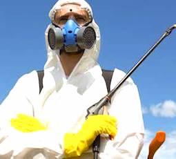 un homme masqué pour un épandage de pesticides