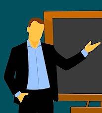 Dessin d'un professeur placé devant un tableau noir symbolisant la réouverture des écoles