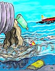 Dessin qui montre des déchets jetés dans la mer pour illustrer la démarche écocide