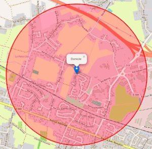 La restriction d'un kilomètre autour du domicile, imposée par le confinement, se calcule facilement sur Google Maps.
